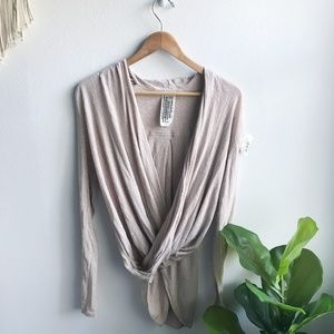 Free People Wrap Long Sleeve Top Cream Size XS